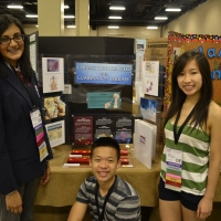 Teammates Monideepa Chatterjee, Jessica Wong, and Quan Bui of Concord TSA with their submission for the event Biotechnology Design.