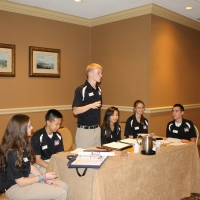 Davey McGinnis, Delaware TSA President leads a Delaware delegation meeting.