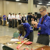 Davey McGinnis and Becka Williams of Mount Pleasant TSA work hard in Problem Solving!