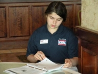 Bridgette Spritz working on a presentation during State Officer Training